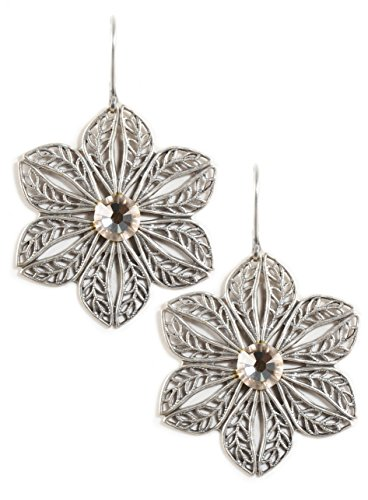 Clara Beau Lt.Silk Swarovski Glass Crystal Silvertone Filigree Flower Earrings E881 S-Silk]()
