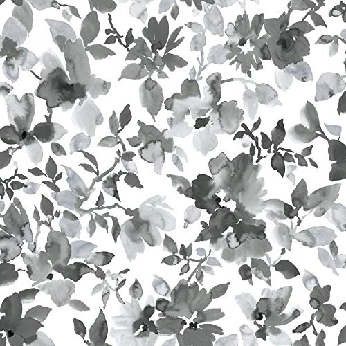 (RoomMates Black Watercolor Floral Peel and Stick Wallpaper)