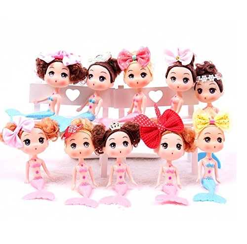 Astra Gourmet Set of 10 Mermaid Doll Cake Toppers for Princess Birthday Party Favor and Supplies, Assorted - Doll Mermaid Set