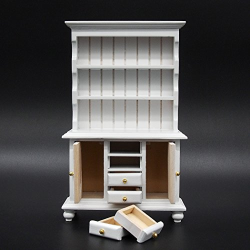 (Odoria 1:12 Miniature White Kitchen Cabinet Cupboards with Working Drawer Dollhouse Furniture Accessories)
