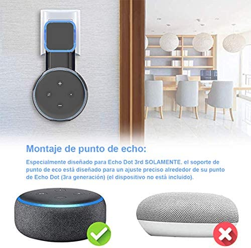 Echo Accesorios, Soporte para Estuche de Montaje en Pared Echo Dot Soporte Funda Protectora para Amazon Echo Dot (3ra generación) Accesorios Que ahorran Espacio para Altavoces domésticos sin Cables ni Tornillos (Negro) 4