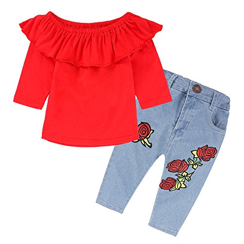 Birdfly Little Girls Fashion Street Look Off-Shoulder Ruffled Top Floral Print Jeans for School Party Beach Oufits (3T, (School Spirit Wear Ideas)
