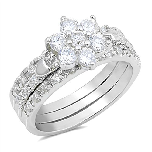 Flower Cluster White CZ Wedding Ring Set New 925 Sterling Silver Band Size 7