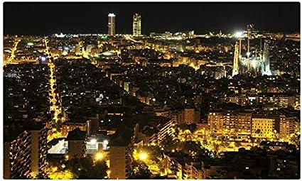 España casas Megapolis noche Barcelona ciudades sitios de viajes postal Post tarjeta: Amazon.es: Oficina y papelería