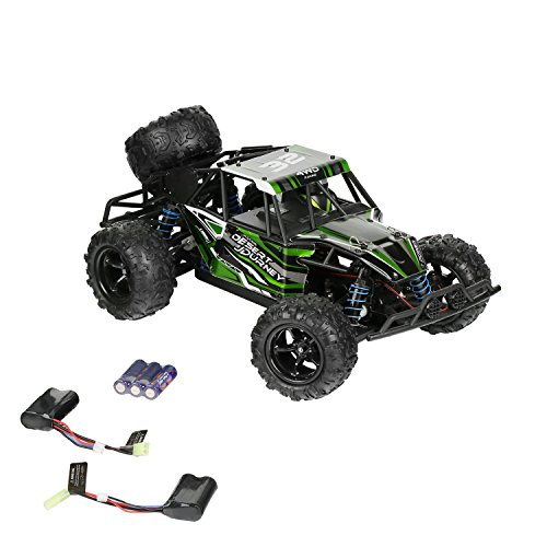 SainSmart Jr. RC Car 1/18 Scale High Speed 30MPH Off-Road Truck, 2.4Ghz Radio 4WD Monster RC Truck with 2 Rechargeable Batteries (Green) (Jr Rc Control)