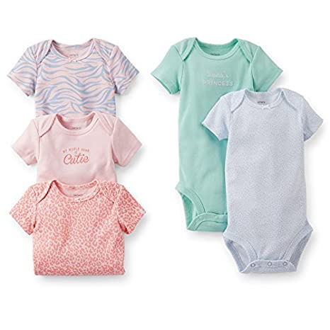 De Carter Baby Girls 5 Pack Bodysuits (Baby) - Coral - Assorted-ST ...