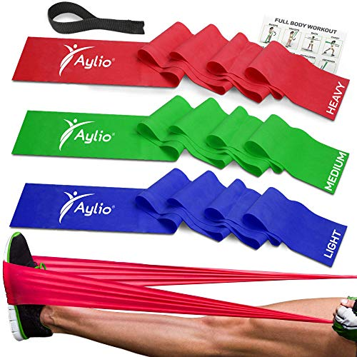 Premium Exercise Bands and Door Anchor | Fitness, Physical Therapy, Pilates Workout, Stretch | 6 Feet - Therapy Flat Bands
