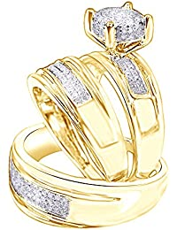 White Natural Diamond Engagement & Wedding Trio Band Ring Set In 10k Solid White Gold (0.4 Ct)