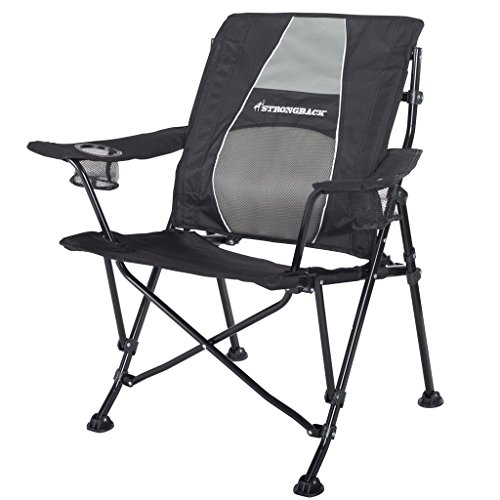 STRONGBACK Guru Folding Camp Chair with Lumbar Support, Black & Grey