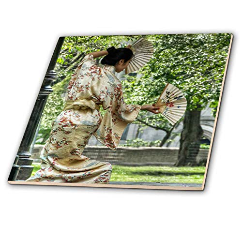 (3dRose Roni Chastain Photography - Asian Dancer with Fans - 6 Inch Ceramic Tile (ct_112756_2) )