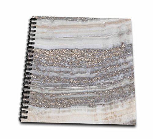 3dRose Uta Naumann Faux Glitter Pattern - Image of Trendy Gray Rock Gemstone Agate and Copper Glitter - Memory Book 12 x 12 inch (db_275120_2) ()