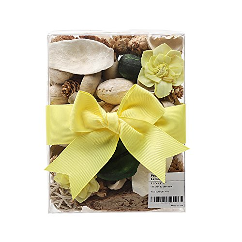 Rina Lemon Scent Handmade Potpourri Box, Dried Flower and Plant Rattan Ball Pine Cones in PVC Box, Present for Decoration Nice Fragrance Thanksgiving Gift, 13 Ounce, Yellow