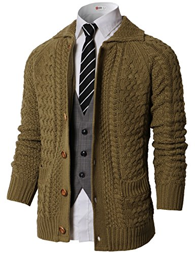 H2H Men's Knitted Thick Shawl Collar Double Breasted Cable Knitwear Cardigan Sweater Olive US M/Asia M (KMOCAL0177) (Double Breasted Shawl Collar)
