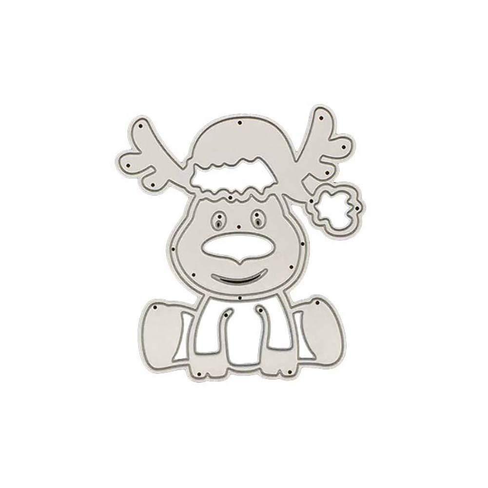 zmigrapddn Taglio Muore,Modello di Renna di Natale Goffratura Taglio Stencil Modello per Creazione Carte Scrapbook Album Carta Artigianale,Metallo
