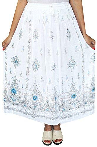 Roberoody Elegant Nice Womens Indian Long Skirts Sequins Ankle Length India Clothing (White) White 7
