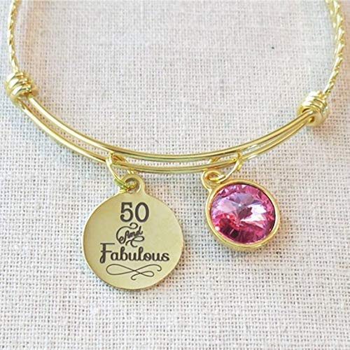 Bright GOLD 50 And Fabulous Bracelet October Gift For Her 50th BIRTHDAY Gifts Women