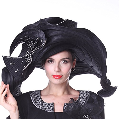 Kueeni Women Hats Church Hats Exaggeration Designer Fashion Lady Wide Brim Hats by Kueeni