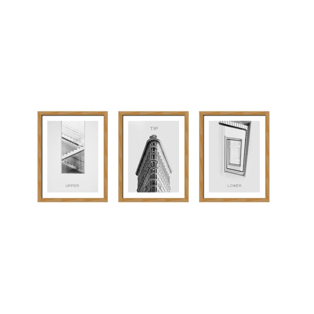 3 Frame Black And White Photo Frame Wood Color Triple Living Room Sofa Restaurant 16 Inch 33 44cm