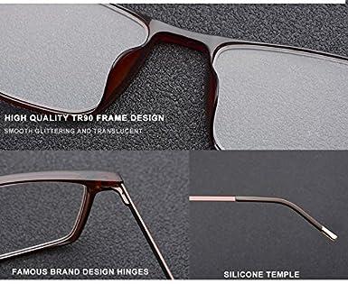 b13858a520 Amazon.com  HEPIDEM Men Titanium Alloy TR90 Square Optical Prescription  Glasses Frame Eyewear 523 (Green Silver)  Clothing