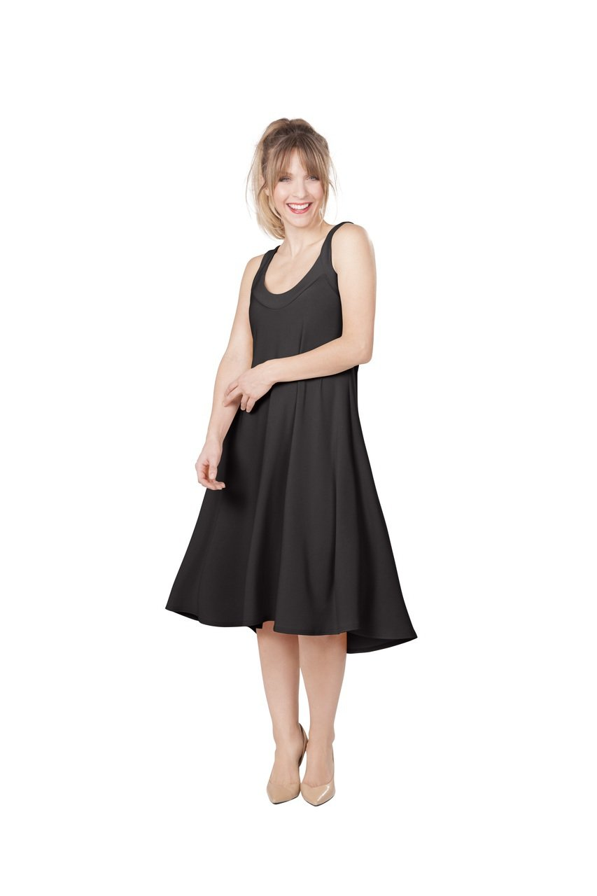 Sympli Women's Social Sun Dress~Short~Black (4, Black)