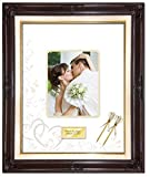 20 x 24 Personalized Wedding Picture Frame with 2 Handmade Ribbon Pens - Elite Dark Mahogany Linen Floral Wood Frame with Heart Floral Round Corner Photo Mat - optional use as Guest Book Signature Autograph Frame with Round Corner 8W x 10H Portrait Photo