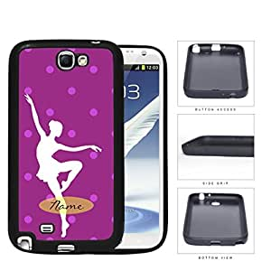 Ballerina Silhouette Monogram With Polka Dots Violet Rubber Silicone pc Cell Phone Case Samsung Galaxy Note 2 II N7100