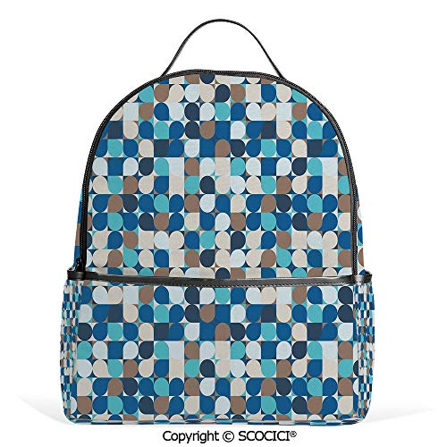 Casual Fashion Backpack Circles in Squares Mosaic Pattern Pastel Colors Modern Geometric Tile Illustration,Multicolor,Mini Daypack for Women & Girls