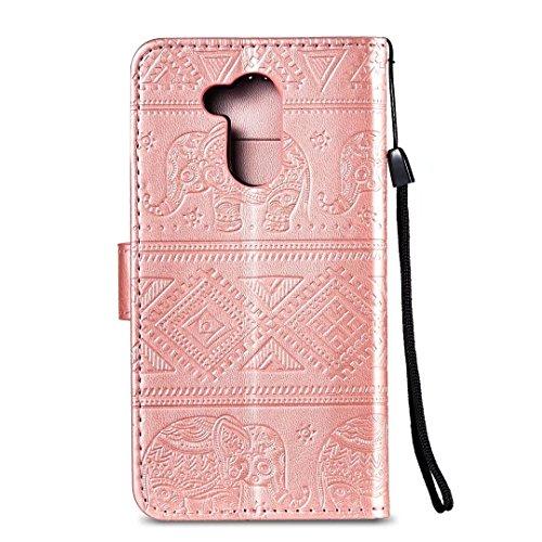 COWX Huawei V9 Play Hülle Flip Brieftasche PU Leder Schutzhülle für Huawei V9 Play Tasche Elefant (Roségold)
