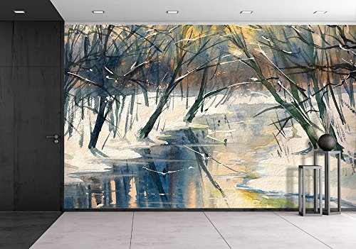 wall26 - Watercolor Painting of a Winter Landscape: River in Forest During Sunset - Removable Wall Mural | Self-adhesive Large Wallpaper - 100x144 inches (Watercolor Paintings Winter)