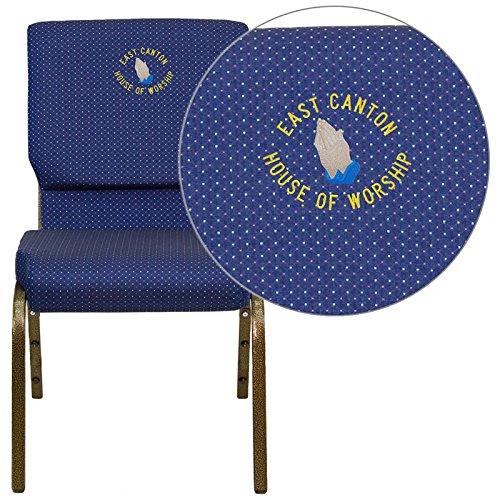 (Flash Furniture embroidered church chair XU-CH-60096-NVY-DOT-EMB-GG)