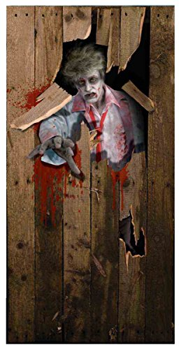 Forum Novelties Photo-Realistic Zombie Door Cover, Multicolor (Scary Outdoor Halloween Decorations)