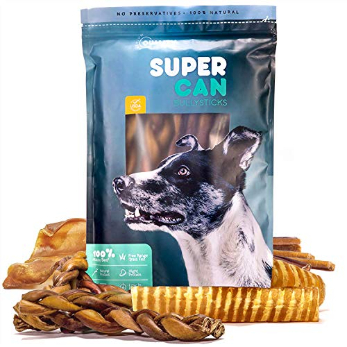 SUPER CAN BULLYSTICKS Happy Pack for Dogs - All Natural Treats & Chews Variety Pack : Bully Sticks, Pig Ears, Beef Tendons, Beef Tracheas and Gullet Sticks (12