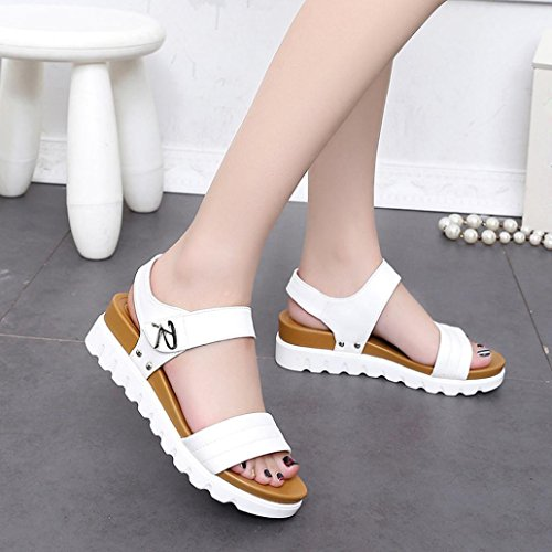 Elevin(TM)2017 Women Summer Fashion Peep Toe Leather Beach Flat Buckle Sandal Shoes White 3WvJi5EhKp