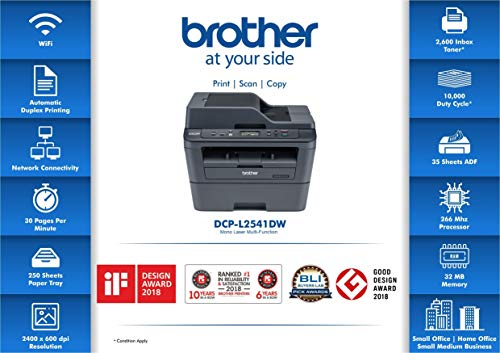 Brother DCP-L2541DW Multi-Function Wireless Monochrome Laser Printer with Network & Auto Duplex Printing