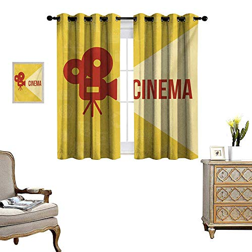 Movie Theater Waterproof Window Curtain Projector Silhouette with Cinema Quote Movie Symbols Background Blackout Draperies for Bedroom W55 x L63 Dark Coral Beige Yellow