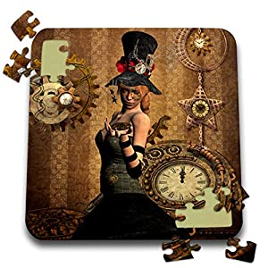 3dRose Heike Köhnen Design Steampunk – Steampunk Women with Clocks and Gears Vintage Design – 10×10 Inch Puzzle (pzl_287309_2)