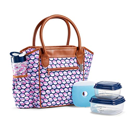 Fit & Fresh Stamford Lunch Kit for Women, with BPA-Free Food Containers and Matching Water Bottle, Offset Spheres Purple