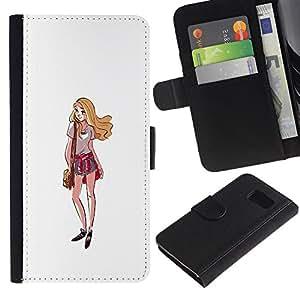 Paccase / Billetera de Cuero Caso del tirón Titular de la tarjeta Carcasa Funda para - Girl Shorts Summer Outfit Style Fashion Art - Samsung Galaxy S6 SM-G920