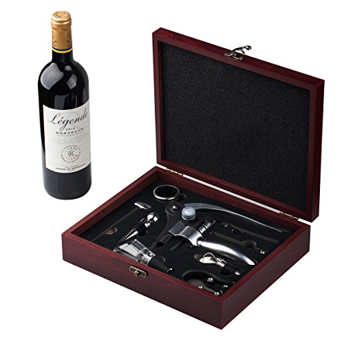 - Cooko Wine Opener Set, Manual Wine Bottle Opener Kit with Aerator, Pourer, Zinc Alloy Handle Corkscrew, Deluxe Wine Accessories Gift with 9 Pieces