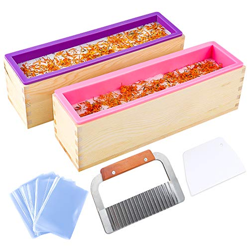YGEOMOR 64oz Loaf Soap Mold, Rectangular Silicone Mold Set for Making Soap, with Wooden Boxes, 2 Cutters and 100pcs 4x6 inches - Cutters Molds Soap