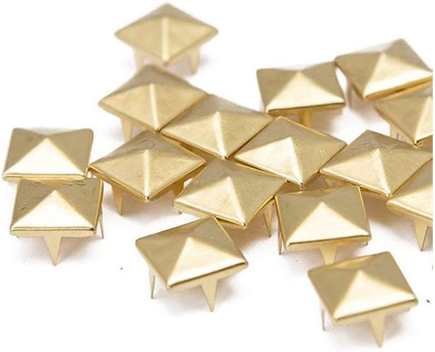 50 Pcs Pyramid Rivets Metal Claw Beads Nailhead Punk Spot Studs with Spikes Gold, 1//2 inch Pyramid Stud