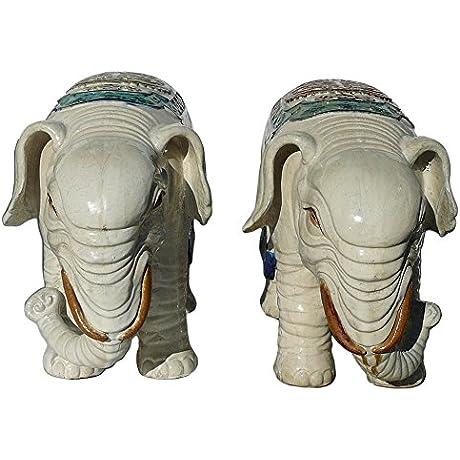 Chinese Pair Ceramic Off White Oriental Elepant Figures Acs1155