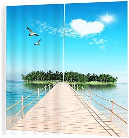 QinKingstore シーサイドビューパターンカーテンディバイダーニースウィンドウカーテン150 * 166リビングルーム用ロマンチックカーテン