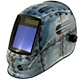 True-Fusion Big-1 Rivets IQ2000 Solar Powered Auto Darkening Welding Helmet Hood Grind mask with Massive View Area (98mm x 87mm - 3.85x3.45 inches) FREE Storage Bag, Spare Lenses and Spare Sweatband included