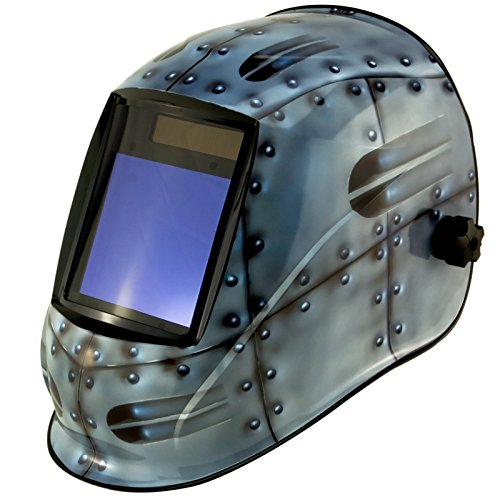 True-Fusion Big-1 Rivets IQ2000 Solar Powered Auto Darkening Welding Helmet Hood Grind mask with Massive View Area (98mm x 87mm - 3.85x3.45 inches) FREE Storage Bag, Spare Lenses and Spare Sweatband included by True-Fusion