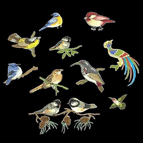 10pcs Hummingbird Birds Flowers Embroidered Iron On Applique (Bird Embroidered Iron)