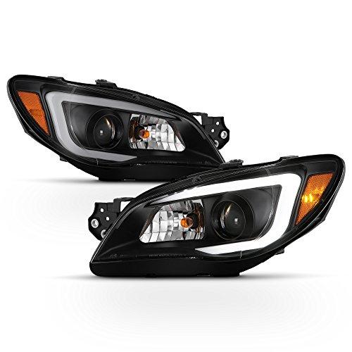 ACANII - For [Halogen Model] 2006-2007 Subaru Impreza WRX LED DRL Light Tube Projector Headlights Headlamps Left+Right