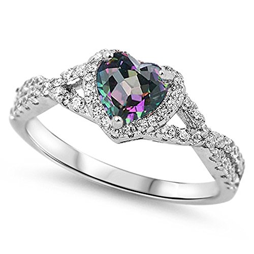 Oxford Diamond Co Sterling Silver Heart Halo Simulated Gemstone Promise Ring All Colors Available (Rainbow Cubic Zirconia, 4) -