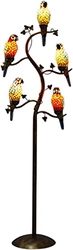 Makernier Tiffany Style Floor Lamp Light Fixture Stained Glass Vintage Antique Style 5-Light Parrot Tree Branch
