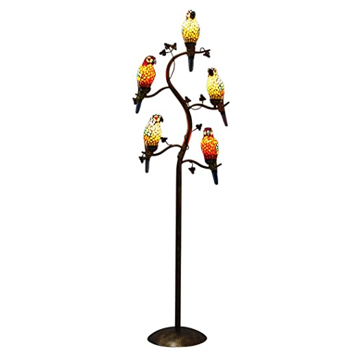 Makenier Vintage Tiffany Style Stained Glass Floor Lamp With 5 Light Parrot Bird Leaf Tree Branch Design Antique Bronze Finish For Bedroom Living